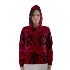 Roses Flowers Red Forest Bloom Hooded Wind Breaker (women) by Amaryn4rt