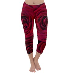 Roses Flowers Red Forest Bloom Capri Winter Leggings  by Amaryn4rt