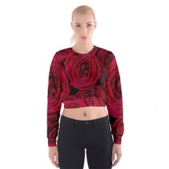 Roses Flowers Red Forest Bloom Women s Cropped Sweatshirt