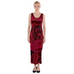 Roses Flowers Red Forest Bloom Fitted Maxi Dress