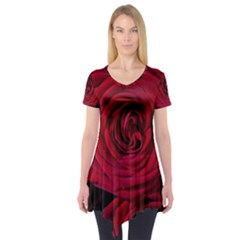 Roses Flowers Red Forest Bloom Short Sleeve Tunic  by Amaryn4rt