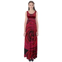 Roses Flowers Red Forest Bloom Empire Waist Maxi Dress