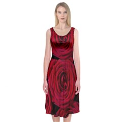 Roses Flowers Red Forest Bloom Midi Sleeveless Dress by Amaryn4rt