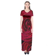 Roses Flowers Red Forest Bloom Short Sleeve Maxi Dress