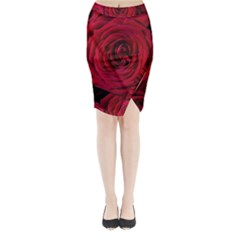 Roses Flowers Red Forest Bloom Midi Wrap Pencil Skirt by Amaryn4rt