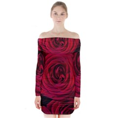 Roses Flowers Red Forest Bloom Long Sleeve Off Shoulder Dress by Amaryn4rt