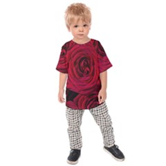 Roses Flowers Red Forest Bloom Kids  Raglan Tee by Amaryn4rt