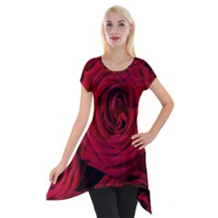 Roses Flowers Red Forest Bloom Short Sleeve Side Drop Tunic