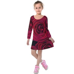 Roses Flowers Red Forest Bloom Kids  Long Sleeve Velvet Dress by Amaryn4rt