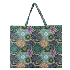 Flower Sunflower Floral Circle Star Color Purple Blue Zipper Large Tote Bag by Alisyart