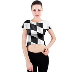 Flag Chess Corse Race Auto Road Crew Neck Crop Top by Amaryn4rt