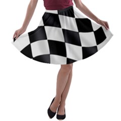 Flag Chess Corse Race Auto Road A Line Skater Skirt by Amaryn4rt