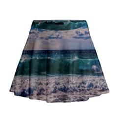 Wave Foam Spray Sea Water Nature Mini Flare Skirt