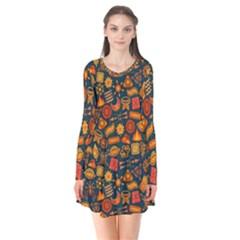 Pattern Background Ethnic Tribal Flare Dress by Amaryn4rt