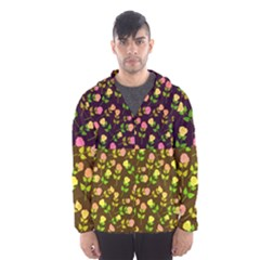 Flowers Roses Floral Flowery Hooded Wind Breaker (men) by Amaryn4rt