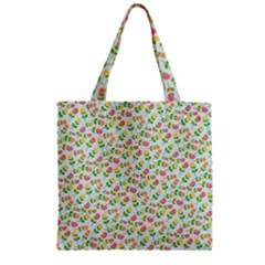 Flowers Roses Floral Flowery Zipper Grocery Tote Bag by Amaryn4rt