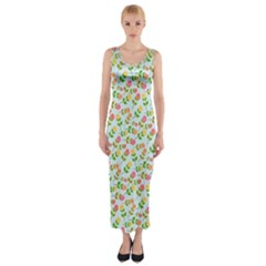 Flowers Roses Floral Flowery Fitted Maxi Dress by Amaryn4rt