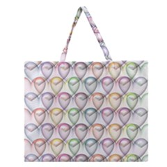 Valentine Hearts 3d Valentine S Day Zipper Large Tote Bag by Amaryn4rt