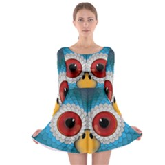 Bird Eyes Abstract Long Sleeve Skater Dress