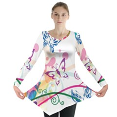 Butterfly Vector Art Long Sleeve Tunic  by Amaryn4rt