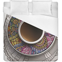 Ethnic Pattern Ornaments And Coffee Cups Vector Duvet Cover (king Size)