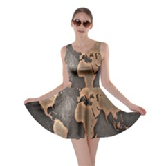 Grunge Map Of Earth Skater Dress