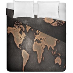 Grunge Map Of Earth Duvet Cover Double Side (california King Size) by Amaryn4rt