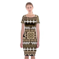 African Vector Patterns Classic Short Sleeve Midi Dress
