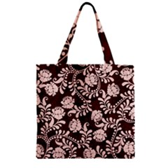 Flower Leaf Pink Brown Floral Zipper Grocery Tote Bag by Alisyart