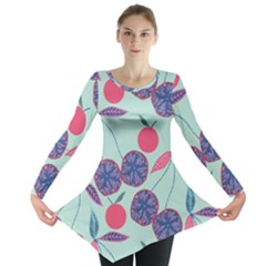 Passion Fruit Pink Purple Cerry Blue Leaf Long Sleeve Tunic  by Alisyart