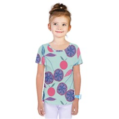 Passion Fruit Pink Purple Cerry Blue Leaf Kids  One Piece Tee by Alisyart