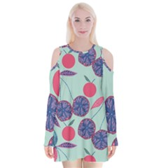 Passion Fruit Pink Purple Cerry Blue Leaf Velvet Long Sleeve Shoulder Cutout Dress