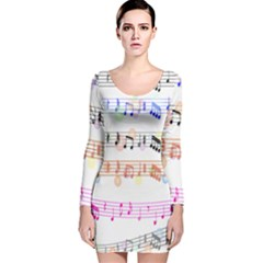 Notes Tone Music Rainbow Color Black Orange Pink Grey Long Sleeve Velvet Bodycon Dress