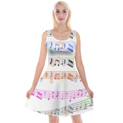 Notes Tone Music Rainbow Color Black Orange Pink Grey Reversible Velvet Sleeveless Dress