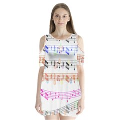Notes Tone Music Rainbow Color Black Orange Pink Grey Shoulder Cutout Velvet  One Piece