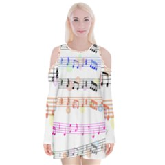 Notes Tone Music Rainbow Color Black Orange Pink Grey Velvet Long Sleeve Shoulder Cutout Dress
