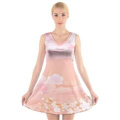 Season Flower Floral Pink V Neck Sleeveless Skater Dress by Alisyart