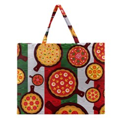 Pizza Italia Beef Flag Zipper Large Tote Bag by Alisyart
