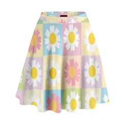 Season Flower Sunflower Blue Yellow Purple Pink High Waist Skirt by Alisyart