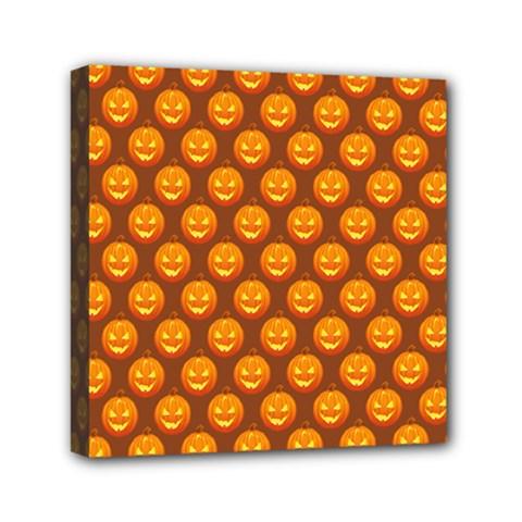 Pumpkin Face Mask Sinister Helloween Orange Mini Canvas 6  X 6  by Alisyart