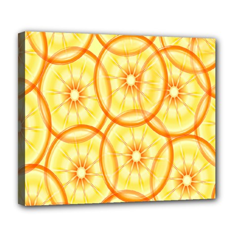 Lemons Orange Lime Circle Star Yellow Deluxe Canvas 24  X 20   by Alisyart