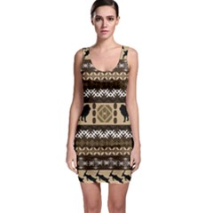 African Vector Patterns  Sleeveless Bodycon Dress