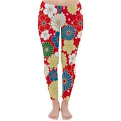Season Flower Rose Sunflower Red Green Blue Classic Winter Leggings by Alisyart