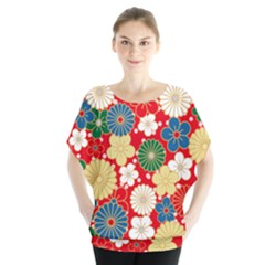 Season Flower Rose Sunflower Red Green Blue Blouse