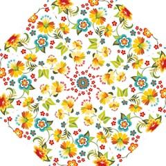 Flower Floral Rose Sunflower Leaf Color Golf Umbrellas by Alisyart