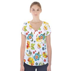 Flower Floral Rose Sunflower Leaf Color Short Sleeve Front Detail Top by Alisyart