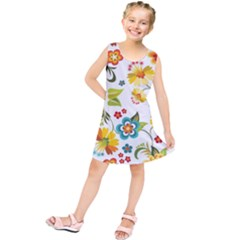 Flower Floral Rose Sunflower Leaf Color Kids  Tunic Dress by Alisyart