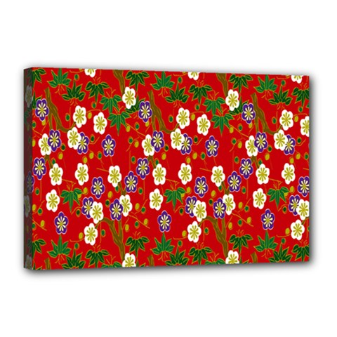 Red Flower Floral Tree Leaf Red Purple Green Gold Canvas 18  X 12  by Alisyart