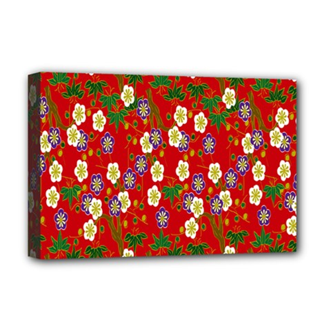 Red Flower Floral Tree Leaf Red Purple Green Gold Deluxe Canvas 18  X 12   by Alisyart