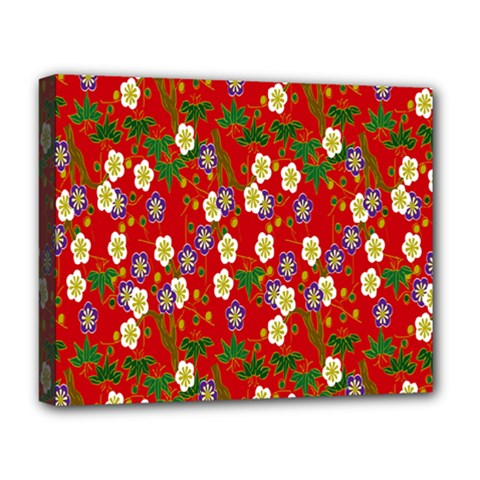 Red Flower Floral Tree Leaf Red Purple Green Gold Deluxe Canvas 20  X 16   by Alisyart